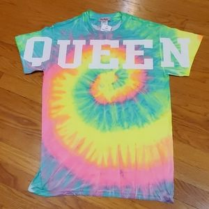 "Rainbow Tie Dye ""Queen"" short sleeved t shirt"